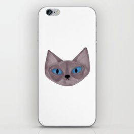 Grey Cat Head with Blue Eyes iPhone Skin