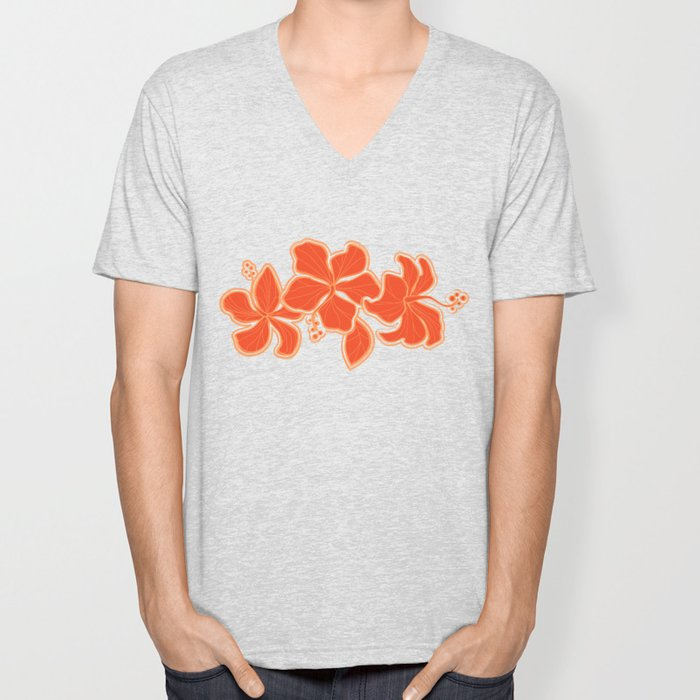 Kailua Hibiscus Hawaiian Sketchy Floral Design Unisex V-Neck
