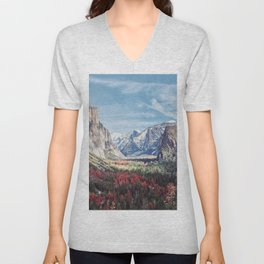 Tunnel View Yosemite Valley Unisex V-Neck