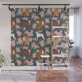 Boxer florals floral pattern dog portrait pet friendly dog breeds boxers Wall Mural