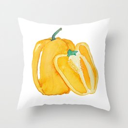 yellow bell pepper watercolor Throw Pillow