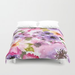 Pink Purple Watercolor Flowers Duvet Cover