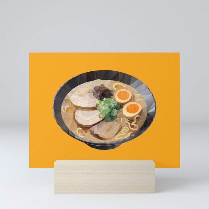 Japanese Tonkotsu Ramen Polygon Art Mini Art Print