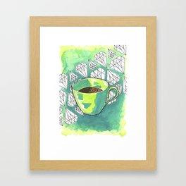 Bright Teal Morning Coffee Watercolor Art Print Framed Art Print