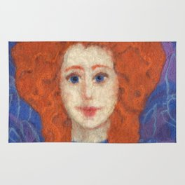 Red Hair, ginger lady, rococo haircut, felt painting, fiber art Rug
