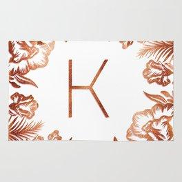 Letter K - Faux Rose Gold Glitter Flowers Rug