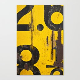 black numbers on yellow background Canvas Print