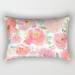 Pink Peonies Watercolor Pattern Rectangular Pillow
