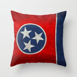 Tennessee State flag, Vintage Retro Style Throw Pillow