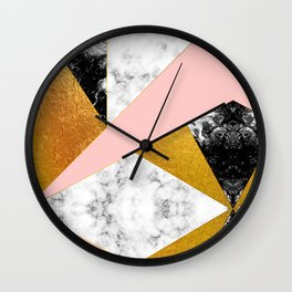 Golden foil and marble Wall Clock