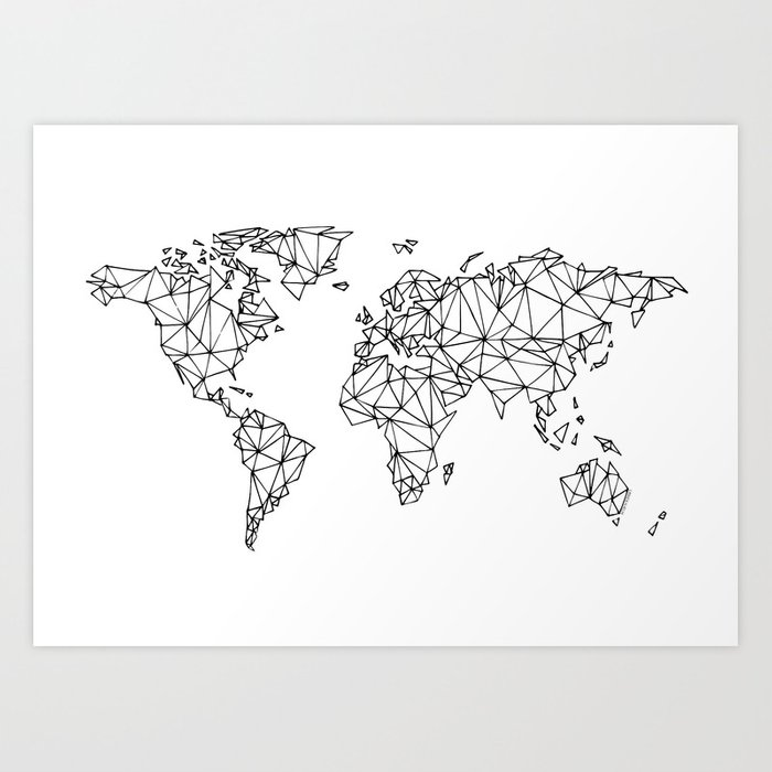 World map white art print by knallhatt society6 world map white art print gumiabroncs Choice Image