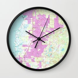 Port Richey & New Port Richey Florida Map (1954) Wall Clock