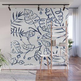 Tropical Plant Boho Chinoiserie Blue and White Wall Mural