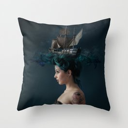 Sailing - Blue Throw Pillow