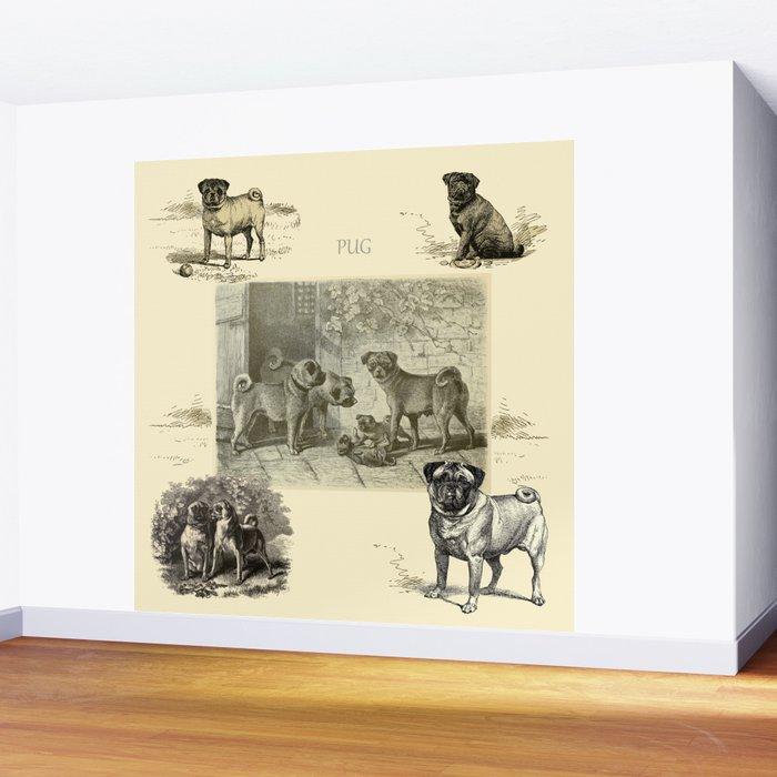 PUG DOGS Illustration Wall Mural