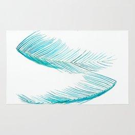 falling palm leaves watercolor Rug