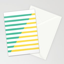 Beach Stripes Green Yellow Stationery Cards