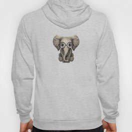 Cute Baby Elephant Calf with Reading Glasses on Blue Hoody