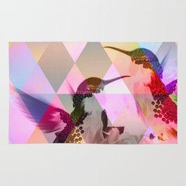 Geometric, pastel, bird print Rug