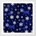 Dark Blue Snowflakes by hlehnerer
