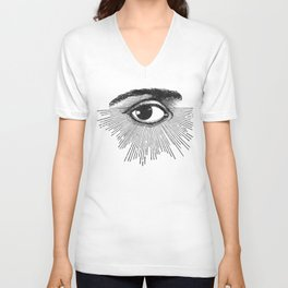 I See You. Black and White Unisex V-Neck