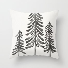 Pine Trees – Black Ink Throw Pillow