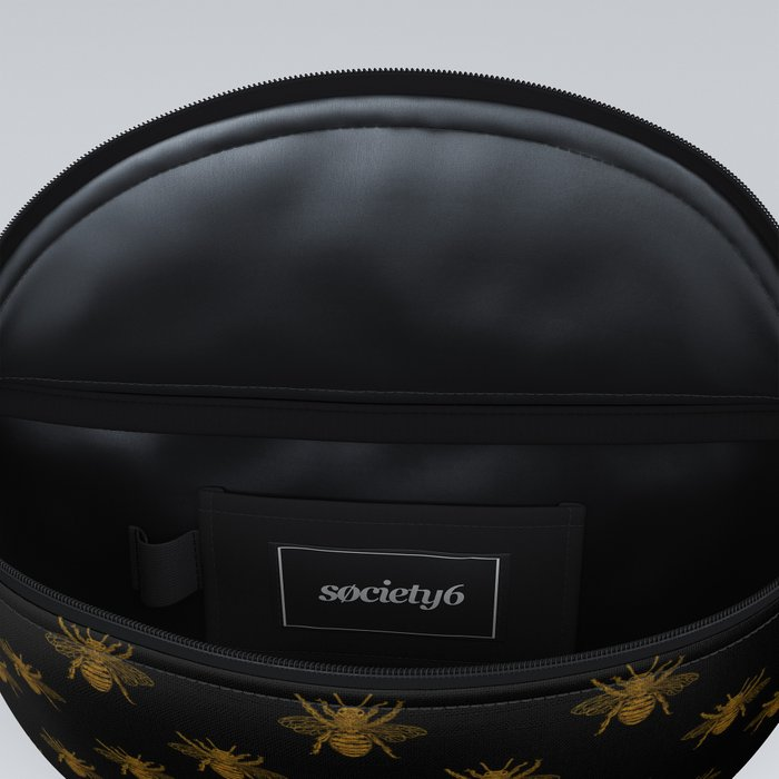 Foil Bees on Black Gold Metallic Faux Foil Photo-Effect Bees Fanny Pack