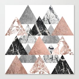 Marble Rose Gold Silver and Floral Geo Triangles Canvas Print