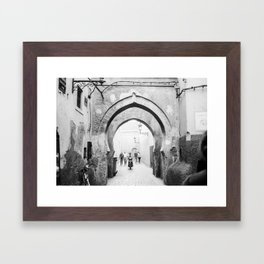 Black and white street photography | Medina of Marrakech | Travel photo print Framed Art Print