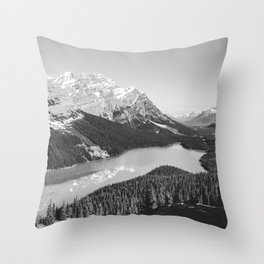 Landscape Photography Peyto Lake | Black and white Throw Pillow