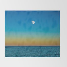Moon Rising Over Chicago's North Shore Throw Blanket