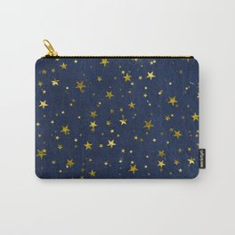 Golden Stars on Blue Background Carry-All Pouch