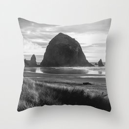 Cannon Beach Sunset - Black and White Nature Photography Throw Pillow