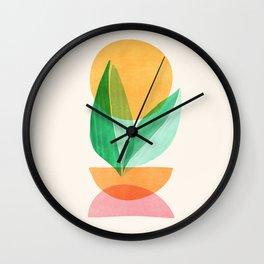 Summer Stack / Abstract Plant Illustration Wall Clock