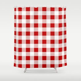 Red And White Check Shower Curtain