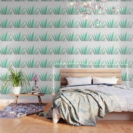 Tropical Allure - Green & Grey on White Wallpaper