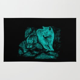 Wolf and Raven in the Night Rug