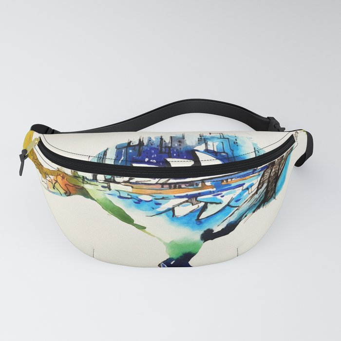 Australia City Skyline Vintage Travel Love Watercolor Fanny Pack
