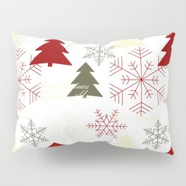 Christmas pattern with gift boxes and snowflakes. Pillow Sham