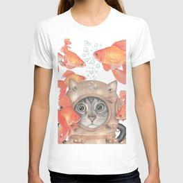 Scuba Cat Among the Fishes T-shirt
