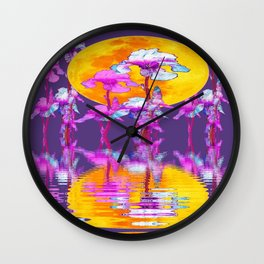 PURPLE-WHITE IRIS & MOON WATER GARDEN  REFLECTION Wall Clock
