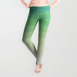 Shades of Ocean Water - Abstract Geometric Line Gradient Pattern between See Green and White Leggings