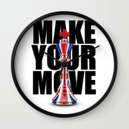 Make Your Move UK / 3D render of chess king with British flag Wall Clock