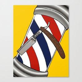 Barber Pole & Razor Canvas Print