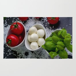 Trio of tomatoes basil fresh mozzarella Rug