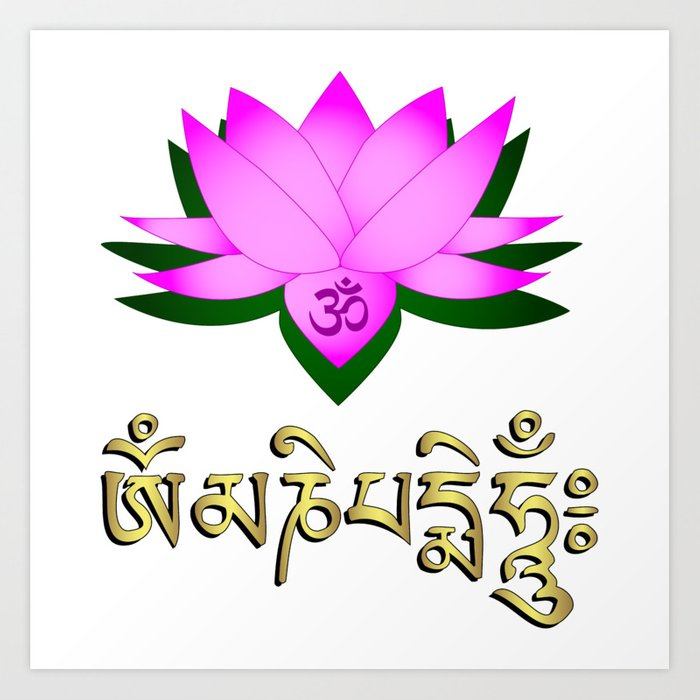 Lotus flower om symbol and mantra om mani padme hum art print by lotus flower om symbol and mantra om mani padme hum mightylinksfo