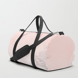 Blush Pink on White and Gray Marble III Duffle Bag