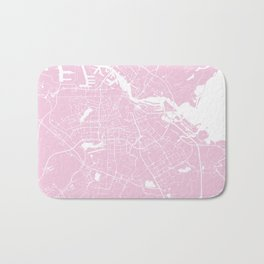 Amsterdam Pink on White Street Map Bath Mat