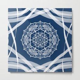Mandala art design white navy blue pattern Metal Print