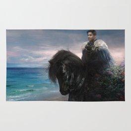 Hiraeth - Knight on Friesian black horse Rug